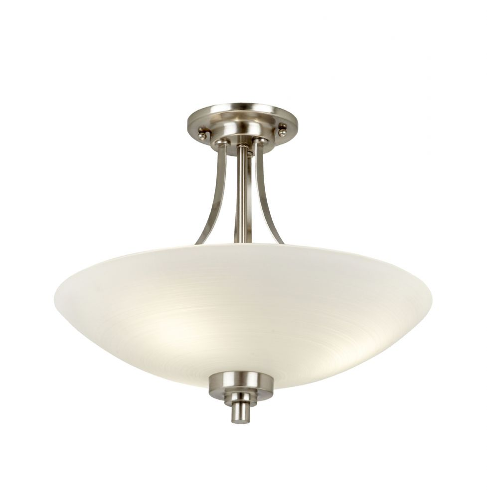 3 Light Semi Flush Fitting In Satin Chrome With  Frosted Glass WELLES-3SC